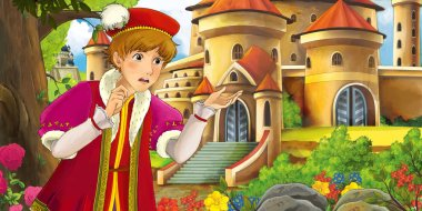 Cartoon nature scene with beautiful castles near the forest with handsome young prince - illustration for the children