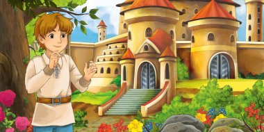 Cartoon nature scene with beautiful castles near the forest with handsome young boy - illustration for the children