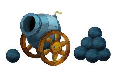 Cartoon cannon on white background with pile of steel cannon balls - illustration for the children