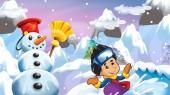 Kreslený zimní přírodou scény s Andym sněhulák a chlapec na snowboardu - ilustrace pro děti