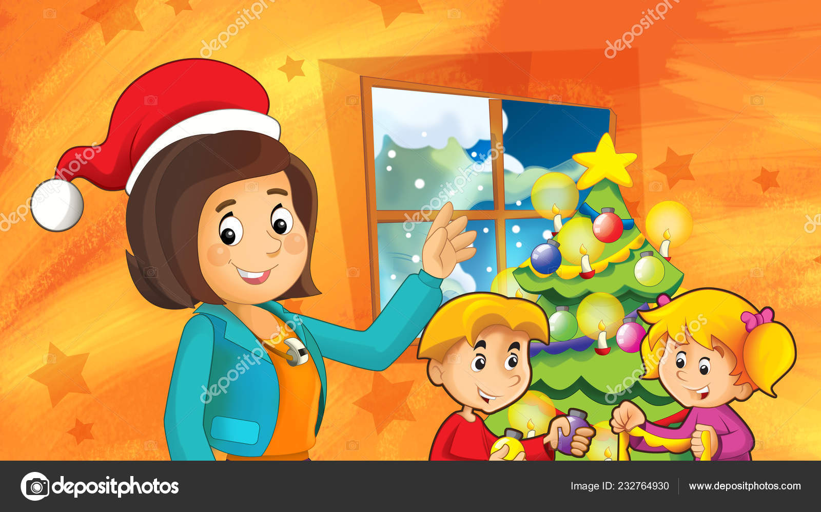 Mother Christmas Cartoon.Cartoon Scene Kids Decorating Christmas Tree Mother Teacher