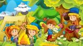 Fotografie Cartoon Art Hintergrund mit Kindern beim Spielen im Wald camping mit Zelt - Illustration für Kinder