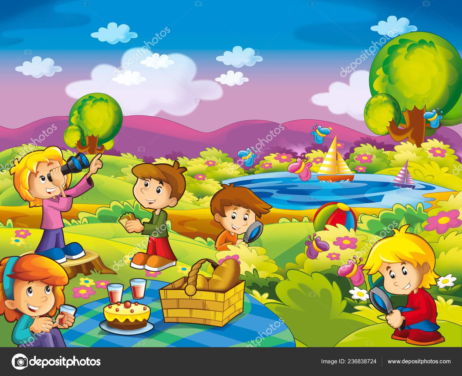 Cartoon Summer Nature Background Lake Kids Having Fun Picnic Illustration Stock Photo C Illustrator Hft 236838724