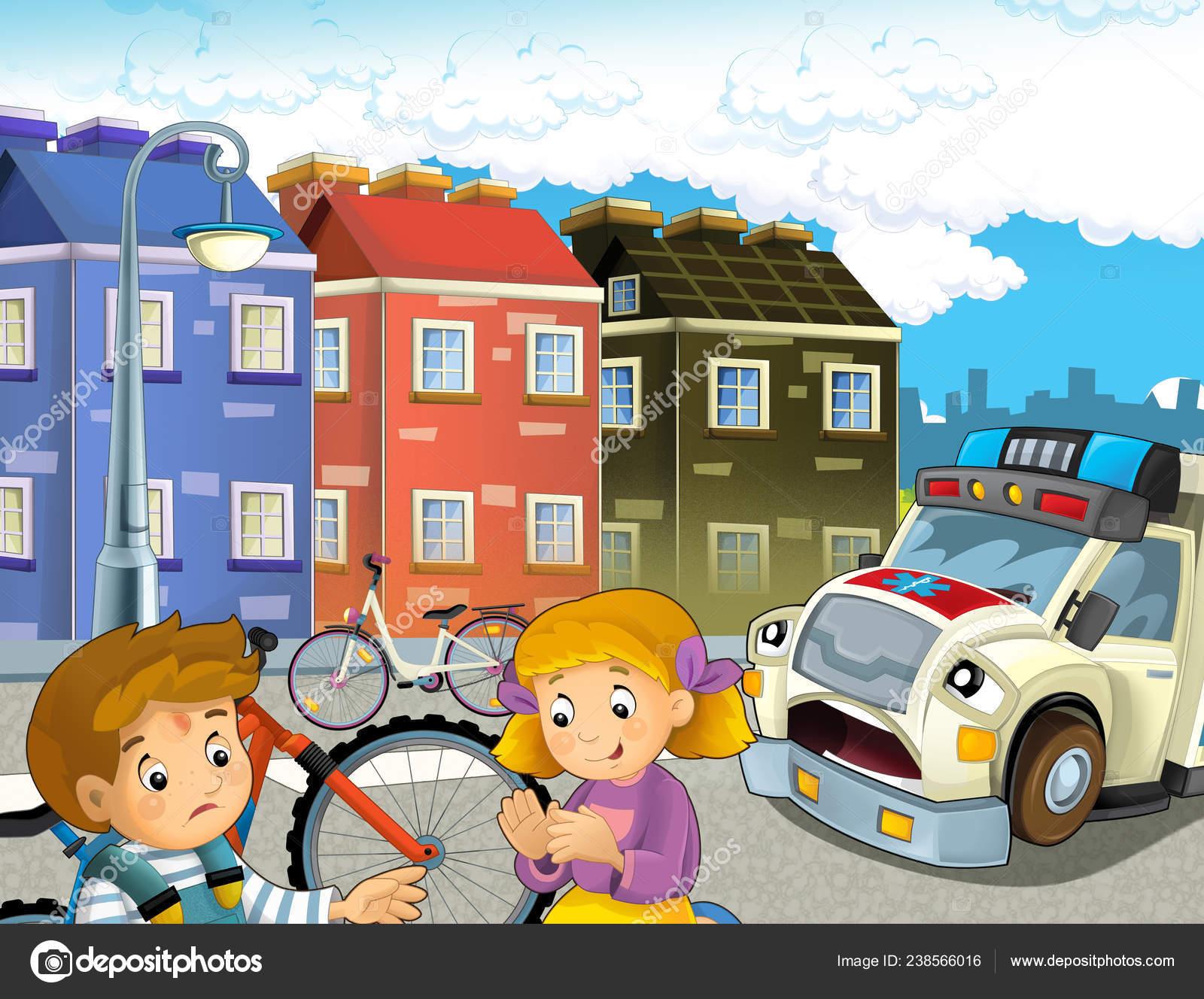 Cartoon Szene Mit Kindern Nach Fahrradunfall Und Krankenwagen Kommen