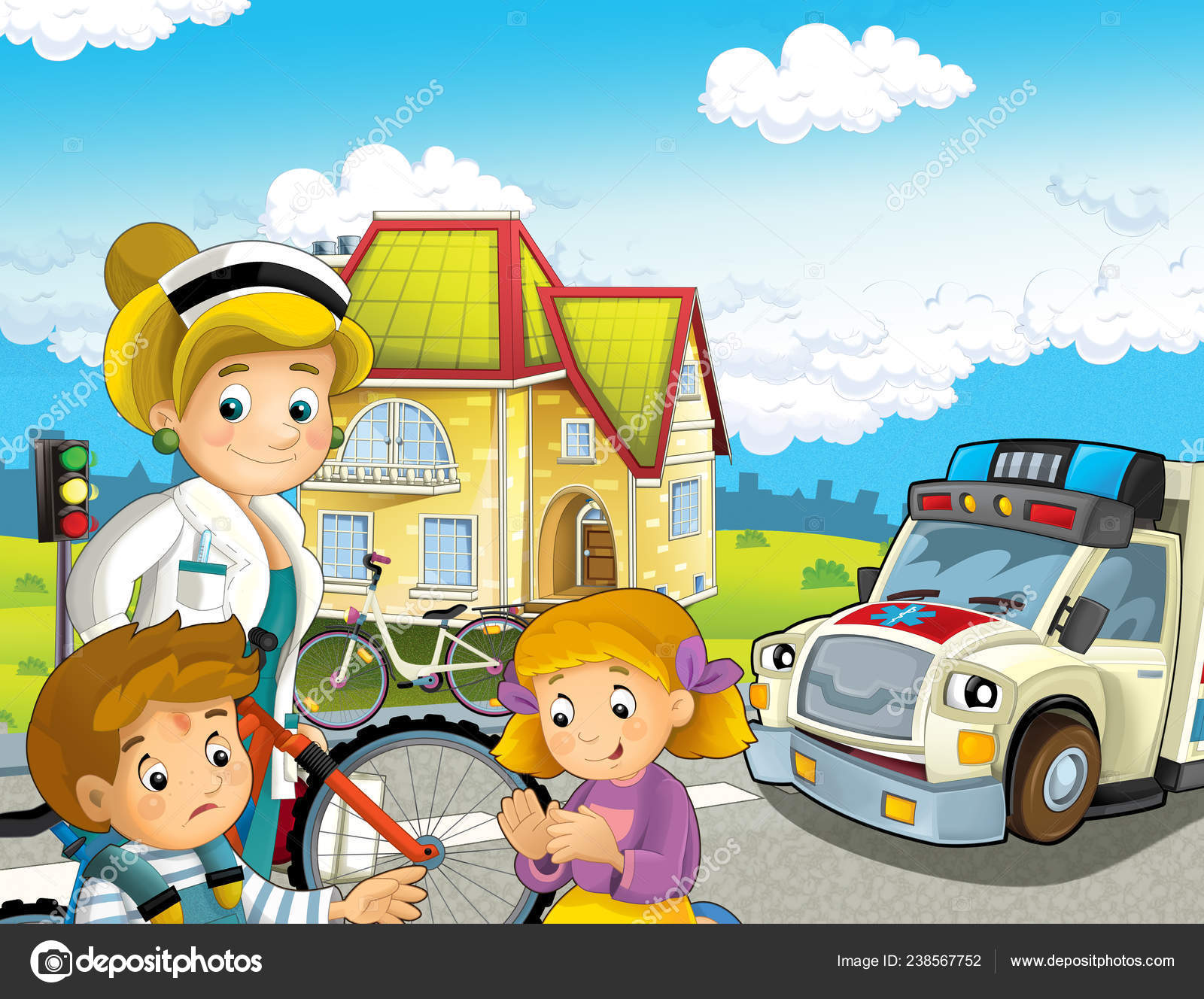 Cartoon Scene Kids Bicycle Accident Ambulance Doctor Coming Help