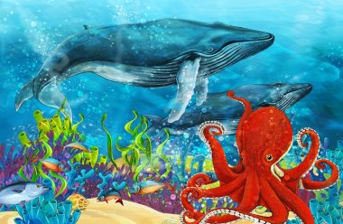 cartoon scene with whale and octopus near coral reef - illustration for children