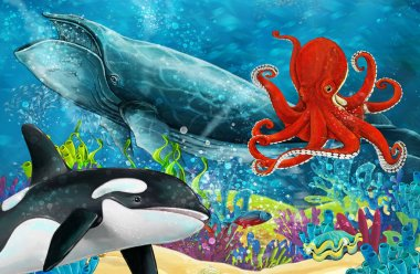cartoon scene with whale and killer whale and octopus near coral reef - illustration for children