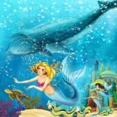 Kreslený oceán a mořská víla podvodní království plavání s velrybami - ilustrace pro děti