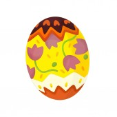 cartoon happy easter scene with colorful easter egg on white background - illustration for children