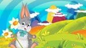 cartoon happy easter rabbit with beautiful flowers on nature spring background - illustration for children