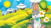 Photo cartoon happy easter rabbit with beautiful flowers on nature spring background - illustration for children