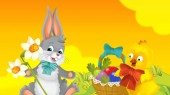 Photo cartoon happy easter rabbit and chick with beautiful flowers on nature spring background - illustration for children