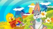 Cartoon šťastný velikonoční králík a buchta s krásnými květinami v přírodě na jaře pozadí - ilustrace pro děti
