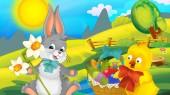 Cartoon Boldog húsvéti nyúl és a csaj gyönyörű virágok, természet tavaszi háttér - illusztrációja-gyermekeknek