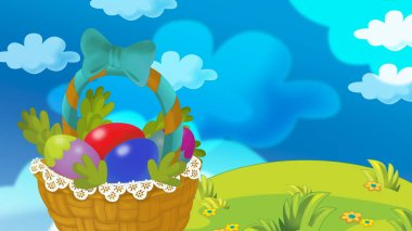 cartoon happy easter basket full of eggs with beautiful flowers on nature spring background - illustration for children