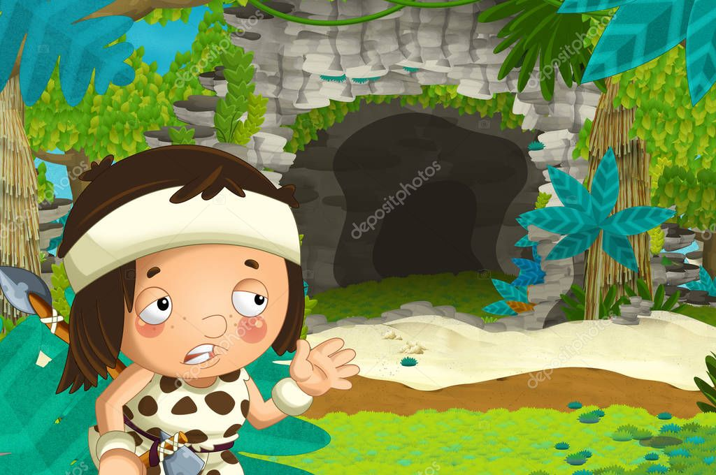 cartoon happy scene with caveman traveling near some cave - illustration for children
