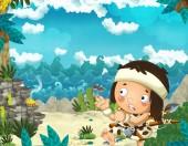 del fumetto di scena di età della pietra con uomini delle caverne vivono vicino mare riva caccia e pesca - illustrazione per i bambini
