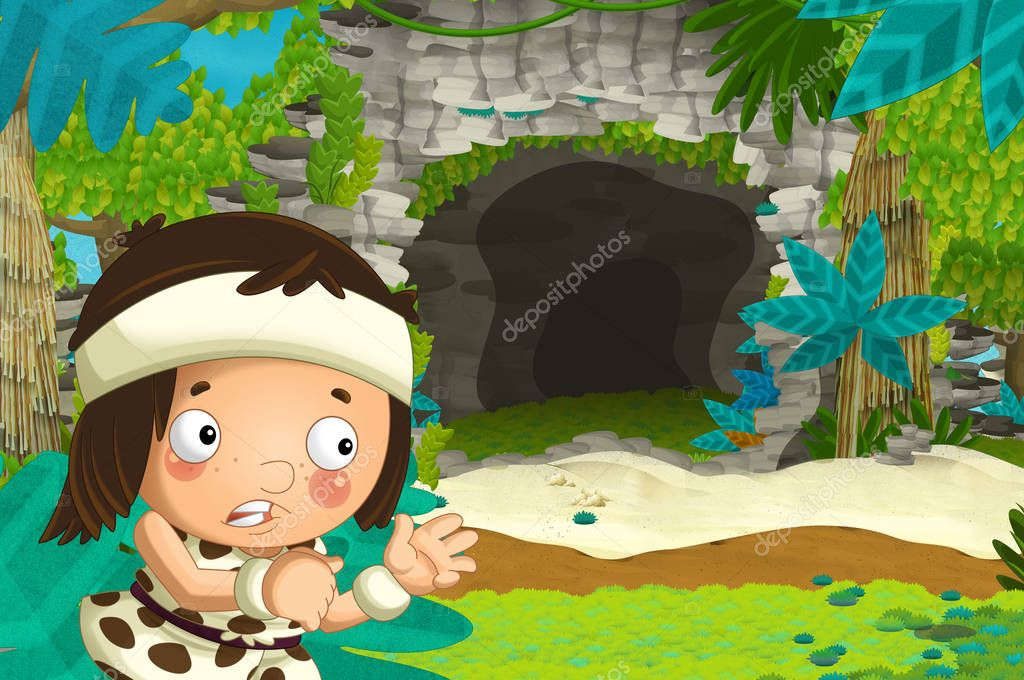 cartoon happy scene with caveman traveling near some cave and seeing diplodocus dinosaur - illustration for children