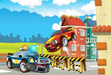 cartoon off road car chase with police on road block - illustration for children