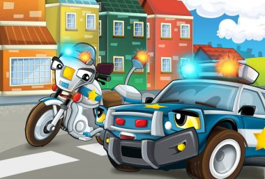 Cartoon scene of police officers on action - car and motorbike - illustration for children