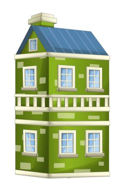 Cartoon illustration of house - block of flats - isolated on white background - illustration for children stock vector