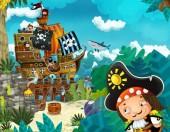 scena di cartoni animati con spiaggia con legno tradizionale molo porto nave pirata su qualche isola tropicale con pirata capitano ragazzo-illustrazione per i bambini