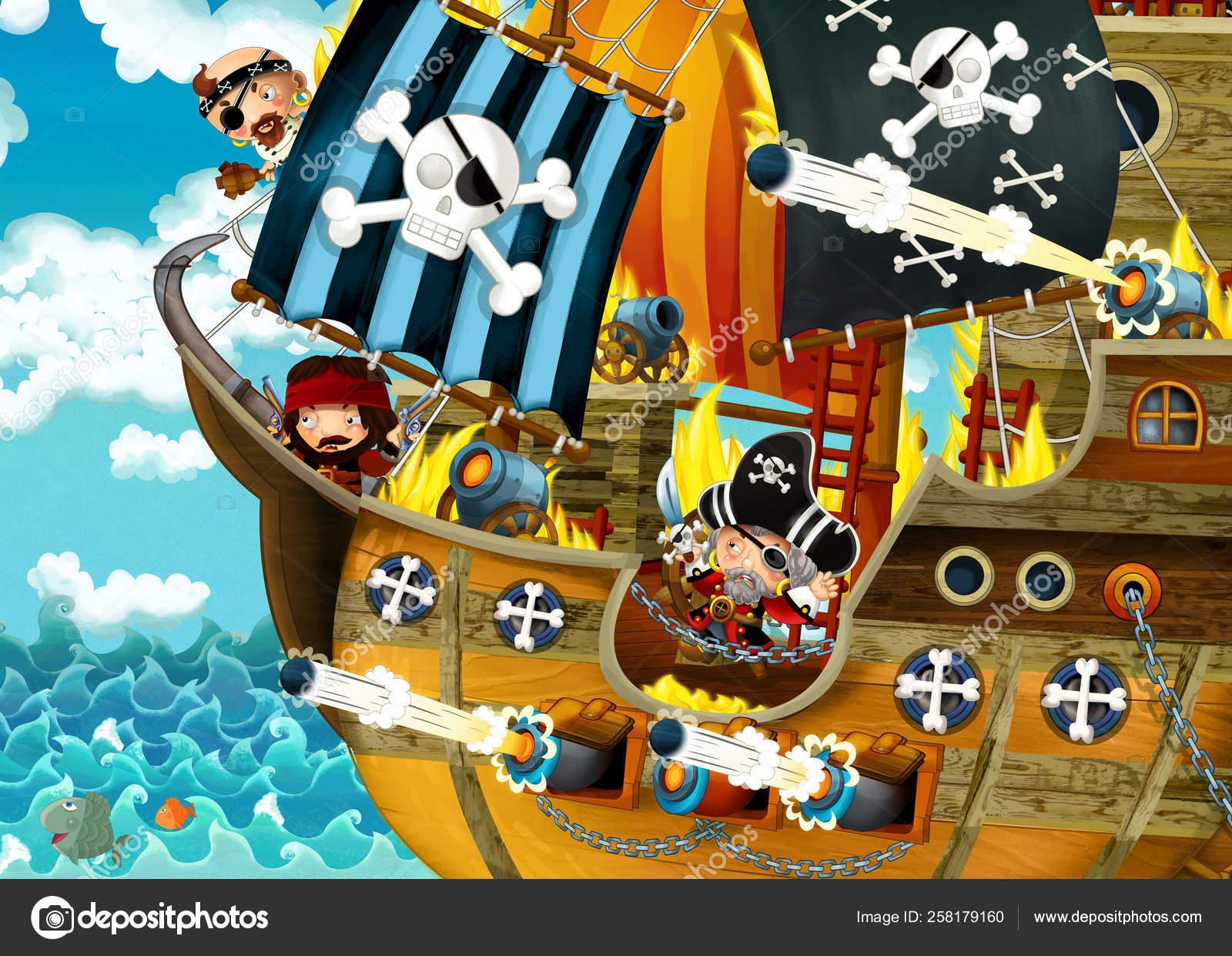 Pictures: scary pirate ships | Cartoon Scene Pirate Ship