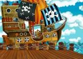 scena dei cartoni animati con lattracco della barca a vela pirata - illustrazione per bambini