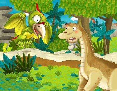 cartoon scene with dinosaur apatosaurus diplodocus brontosaurus with some other dinosaur in the jungle - illustration for children