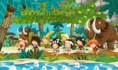 Photo Cartoon scene with prehistoric fishermen near the river traveling and finding fruit trees on the way - illustration for children