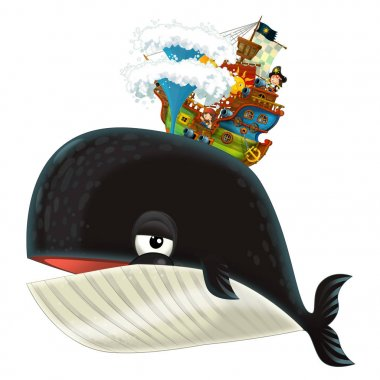Cartoon happy and funny sea whale spraying water and pirate ship - illustration for children stock vector