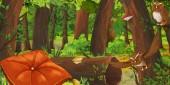 Kreslená letní scéna s hlubokým lesem, ptačí Soví a polštářem-nikdo na scéně-ilustrace pro děti
