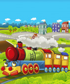 Cartoon funny looking steam train going through the city - illustration for children
