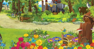 Cartoon nature scene with beautiful castles near the forest - illustration for the children