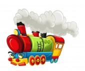 Karikatura legrační vypadající parní vlak - izolované na bílém pozadí - ilustrace pro děti