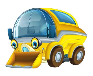 Cartoon happy truck with snow plow isolated on white background - illustration for children stock vector