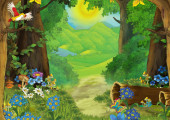 Kreslená letní scéna s loukou v lese ilustrace pro děti