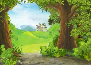 Cartoon nature scene with beautiful castle - illustration for the children