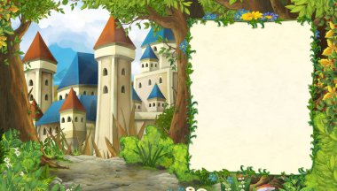 Cartoon nature scene with beautiful castle with frame for text - illustration for the children