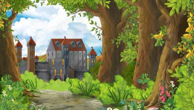 Cartoon nature scene with beautiful castle near the forest - ill