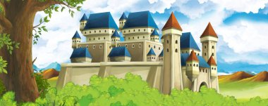 Cartoon nature scene with beautiful castle near the forest - illustration for the children