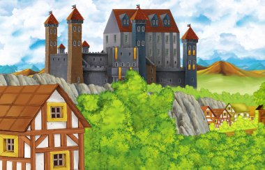 cartoon scene with kingdom castle and mountains valley near the forest and farm village illustration for children