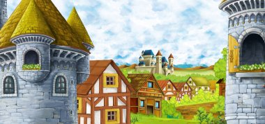 cartoon scene with kingdom castle and mountains valley near the