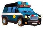 Karikatur fröhlich und lustig lächelnd Polizeiwagen - isolierte Illustration für Kinder
