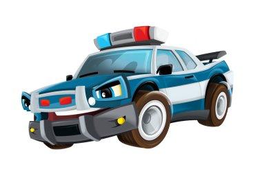 Cartoon police car sedan on white background - illustration for children stock vector