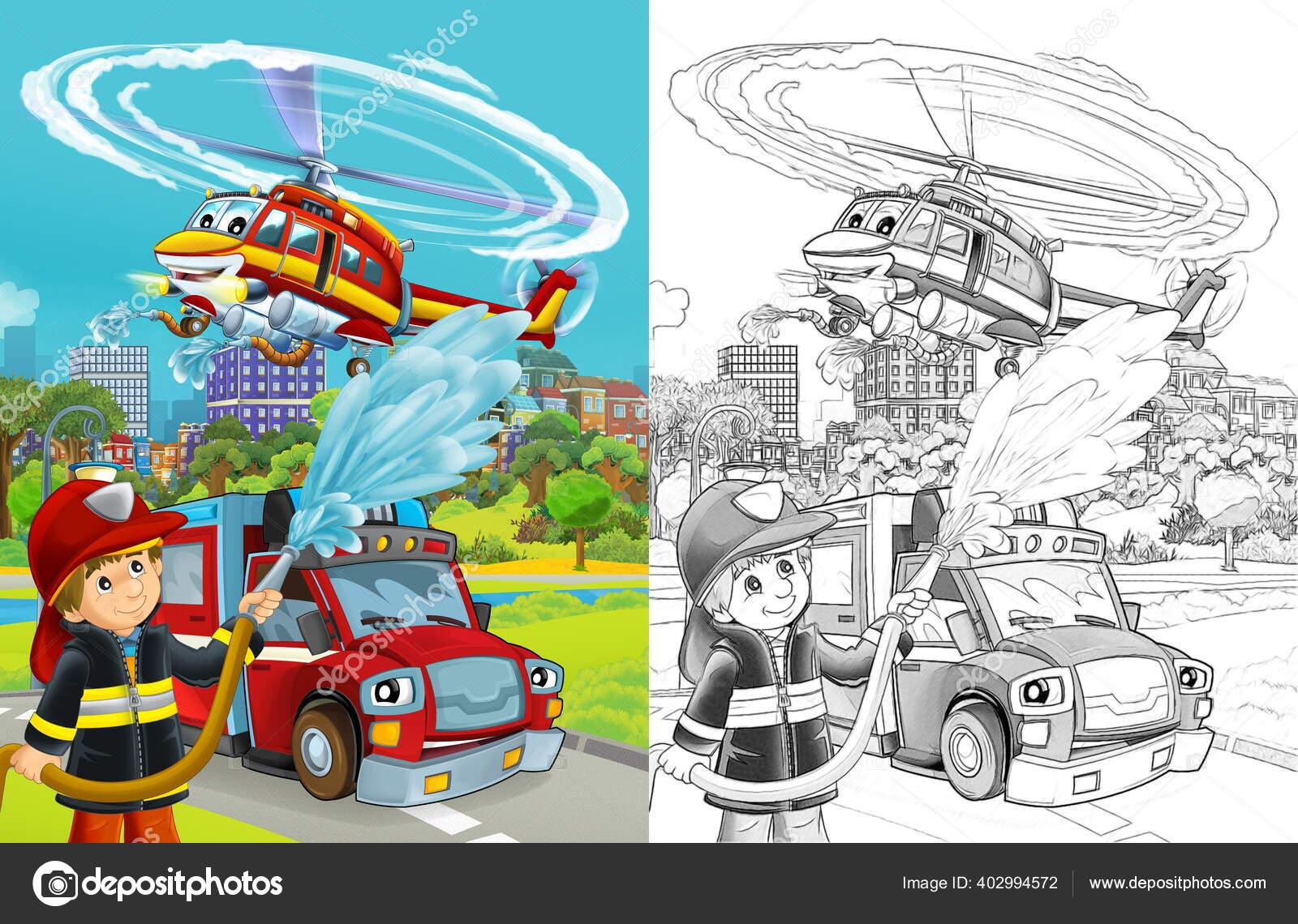 Adegan Sketsa Kartun Dengan Kendaraan Pemadam Kebakaran Jalan Dan Petugas Stok Foto C Illustrator Hft 402994572