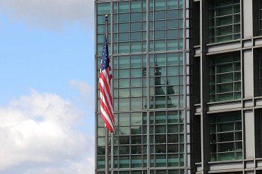 American flag at the embassy. Photo processed by art filter