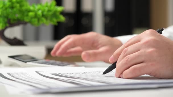Businessman working in office and calculating finance. Business financial accounting concept.
