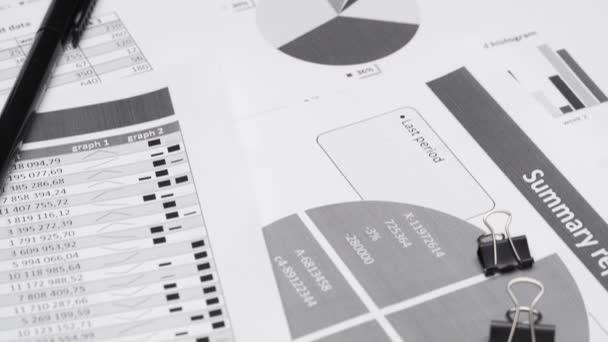 kancelář kancelář pracoviště detailní - finanční tabulky a sestavy s daty pro analýzu a účetnictví, sada dokumentů, různé položky pro vedení účetnictví