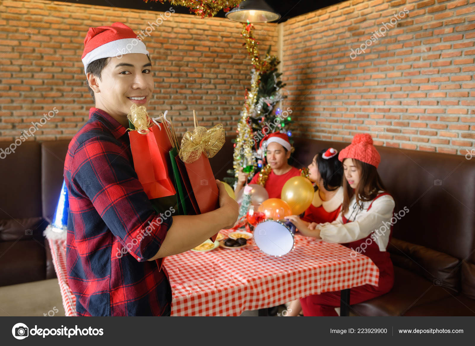 Asian Handsome Man Santa Hat Hold Many Christmas Presents His